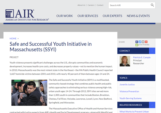 Safe and Successful Youth Initiative in Massachusetts